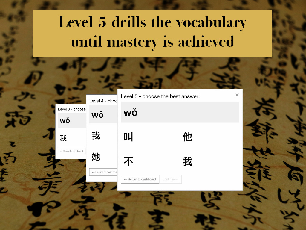 Level 5 drills the vocabulary until mastery is acheived